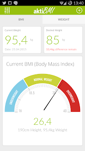 screenshot of Weight Loss Tracker, BMI version 1.64