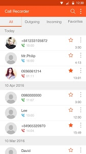 screenshot of Call recorder version 1.13.3557.27