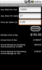 screenshot of Car Loan Calculator Free version Varies with device