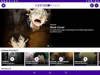 screenshot of FunimationNow version 2.01