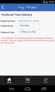 screenshot of HP GAS App version 3.0.1