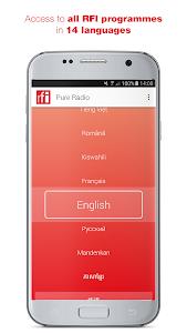 screenshot of RFI Pure radio version 2.1.1