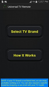 screenshot of Universal TV Remote Control version 1.0.5