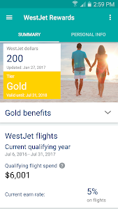 screenshot of WestJet version 2.14
