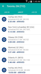 screenshot of WestJet version 2.11