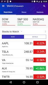 screenshot of Yahoo Finance version Varies with device